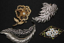 LOT 4 VINTAGE ~ BROOCHES PINS ~ GOLD SILVER ENAMEL ~ FLOWERS LEAVES ~ BROOKS ART