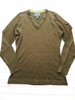 Woolrich Women's Shirt Knit V Neck Long Sleeve Green Top Size Medium D49