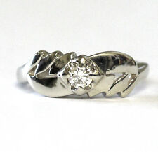 14k white gold .18ct Vs I round diamond vintage right hand ring 4.0g estate