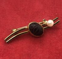 Vintage Brooch Pin 14k Gold Filled Gf Wells Scarab Beetle Faux Pearl Egyptian
