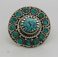 Asian Sterling Silver Ring Jewelry Ethnic design Original Turquoise Stone RRT18