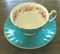 Antique Aynsley Elegant Cup & Saucer England Pink roses Turquoise Blue Fabulous!