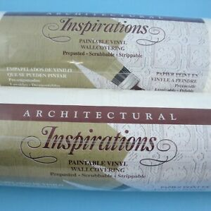 2 Rolls Paintable Embossed Vinyl Wallpaper Architectural Inspirations Tile Look
