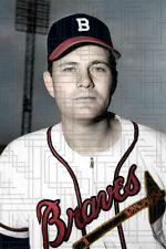"Mickey Livingston - 1949 Boston Braves - 4""x6"" colorized print"