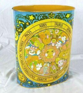 Vtg 70s Cheinco Groovy MOD Astrology Zodiac Wastebasket Trash Can