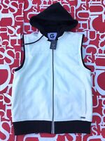 G By Guess Men's Yanez Faux Leather Hooded Vest In White Full Zip Size S
