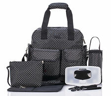 Allis Baby Changing Bag Functional Nappy Diaper Backpack 7PCs PVC FREE - Black