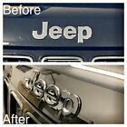 For Jeep Grand Cherokee Gloss Black Vinyl Wrap Badge Overlay 2x Pcs Front Rear