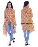 Femmes Floral Jaune Châle Long Kimono Cardigan Desseré Indien Veste Chemise