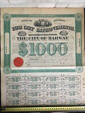 US $1000 Bond w/ $35 Coupons City of RAHWAY NJ 1865 Bill to NATIONAL BANK. XF