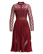 NWT SELF-PORTRAIT Red Burgundy Symm Medallion Lace Pleated Midi Dress Size 2/4/6