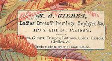M A GILDEA, LADIES DRESS TRIMMING ~ 119 S 11th St.~ PHILA ~ 5 TRADE CARDS TTC183