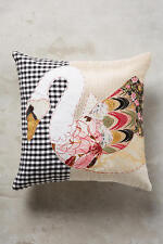 "NWT Anthropologie PATCHWORK PILLOW Swan 18"" Throw Toss Accent Cotton van Dyke"