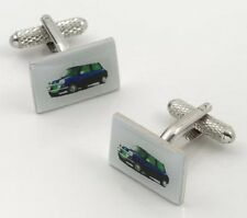 Blue Mini Car Cufflinks Cuff Links Onyx Art Retro Classic Car