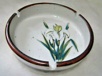 "VINTAGE LARGE GLAZED STONEWARE ASHTRAY 6"" MID CENTURY MODERN"
