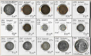 ^^NICE^^ 15 NORWAY COINS & MEDAL DATED 1818-1980 WITH CAT VALUE $1400+ (NO RSRV)