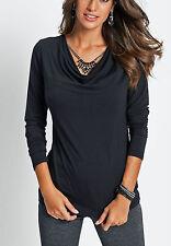 Geschmackvolles Shirt mit Wasserfallkragen Gr. 40/42 schwarz 917855 Neu