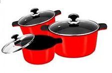 6 Pieces Non Stick Die-Cast Ceramic Coated Cooking Pot Set Glass Lid Pan Cookwar