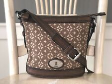 FOSSIL MADDOX Brown Leather Canvas Messenger Crossbody Shoulder Bag Traveler