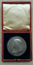More details for 1897 victoria  diamond jubilee coronation medal - boxed - 55mm - 84 gms - ef+