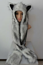 Fuzzy Fluffy Women Winter Animal Wolf Cat Hat with Mittens Gloves Plush Beanie