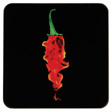 Set of 4 Flaming Chilli Design Square Tablemat Dining Serving Tableware Coasters
