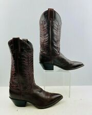 Ladies Justin Brown/ Pink Leather Pointed Toe Western Cowgirl Boots Size: 7.5 B