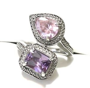Stainless Steel 316L Silver Tone Pink Purple Amethyst Bypass Ring Size 7.25