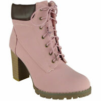Womens Ladies High Ankle Grip Sole Boots Lace Up Casual Fashion Bootie Shoe Size