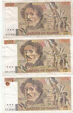 Lot de 14 billets de 100 francs Delacroix 1983-1984-1985-1986-1987