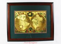 "Nova Totivs Terrarvm Orbis Geographica Tabvla Gold Foiled World Map 18 ¾"" x 23"""