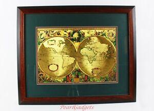 "Nova Totivs Terrarvm Orbis Geographica Tabvla Gold Foiled World Map 18 ¾"" x 23"""