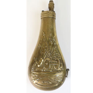 Vintage Civil War Replica Brass Black Powder Flask Made In Italy Reproduction