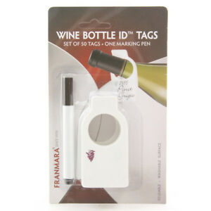 Franmara Reusable Wine Bottle Tags (50 Count) with Dry Erase Marker Bar Gift