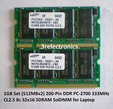 1GB Set (2x512MB) 200-Pin DDR PC-2700S 333MHz CL2.5 NON-ECC SDRAM SODIMM LAPTOP