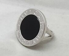 BULGARI/BVLGARI 18K WHITE GOLD CIRCULAR LARGE ONYX RING Sz 5