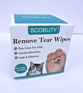 Scobuty Pet Tear Wipes Gentle & Soothes - Safe & Effective - 130 Pads