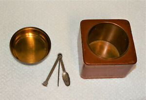 Rare Vintage DUK-IT Copper Canister With Leather Box Tobacco Humidor-McDonald