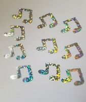 10 Hotfix iron on transfers silver hologram music notes size 22mmx15mm