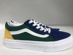 Vans Old Skool Colorblock Blue/Green/Yellow Youth Size 2
