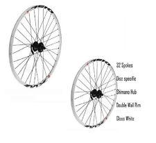"Pair Mountain Bike DISC Wheels Shimano 8 9 Speed WHITE 26"" front rear wheel New"