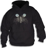 Cat Face Blue Eyes Women's Girls Hoody Sm - 2XL Hooded Top Animal Feline