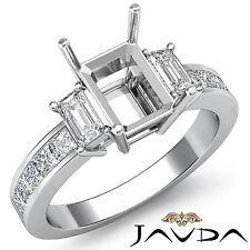 3 Stone Diamond Engagement Classic Ring 14k White Gold Emerald Semi Mount 0.8Ct