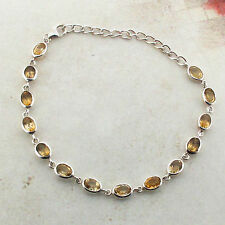 Yellow Citrine Sterling Silver Bracelet Faceted Stones Gemstone Jewelry New