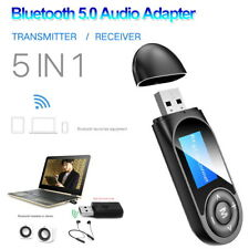 5 In1 Bluetooth 5.0 Audio Transmitter Receiver LCD USB Adapter for TV PC Car AUX