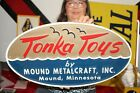 """Rare Vintage 1960's Tonka Toys Tractor Truck Toy Farm 23"""" Embossed Sign NICE"""