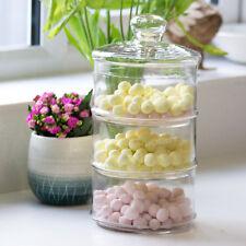 33cm Vintage 3 Tier Stackable Glass Storage Jar Sweets Sweetie Treats Container