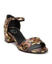 AGL NEW METALLIC LEOPARD PRINT LEATHER ANKLE STRAP SANDALS SIZE 38
