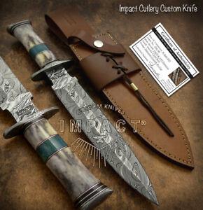 IMPACT CUTLERY RARE CUSTOM DAMASCUS DAGGER KNIFE CAMEL BONE HANDLE