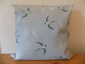 """Swallows Cushion Cover Birds Throw Pillow Cotton Canvas 14"""" 16"""" 18"""" Zip Handmade"""